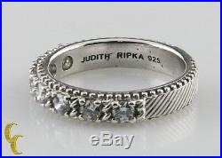 Judith Ripka Sterling Silver & Cubic Zirconia Ring Size 8 Great Price