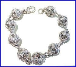 Judith Ripka Sterling Silver Cubic Zirconia Texture Bead Bracelet 8.5