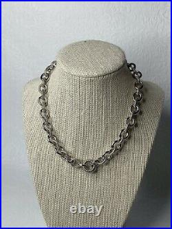Judith Ripka Sterling Silver Heavy Large Rolo Cable Link Necklace Cubic Zerconi