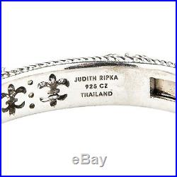 Judith Ripka Sterling Silver Hinged Cuff Bracelet with Cubic Zirconia Hearts
