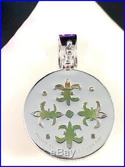 Judith Ripka Sterling Silver Nephrite Jade Stone Cubic Zirconia Pendant Enhancer