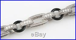 Judith Ripka Sterling Silver Onyx, Cubic Zirconia, Amethyst Chunky Link Bracelet