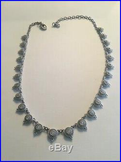 Judith Ripka Sterling Silver Round CZ Cubic Zirconia Stationed Necklace 20 Inch