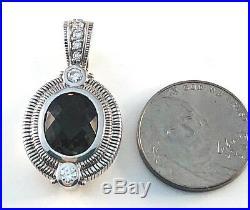 Judith Ripka Sterling Silver Smoky Quartz & Cubic Zirconia Pendant / Enhancer