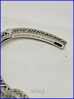 Judith Ripka Sterling Silver Solitaire Pave Cubic Zirconia Hinged Cuff Small