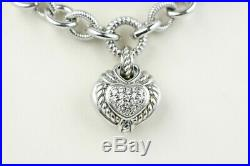 Judith Ripka Sterling Silver and Cubic Zirconia Puffy Heart Chain Necklace 97
