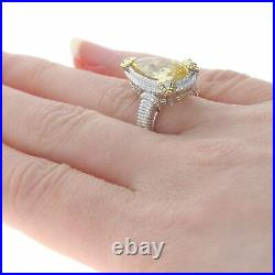 Judith Ripka Two Cubic Zirconia Ring Yellow Gold & Sterling 18k 925 Pear