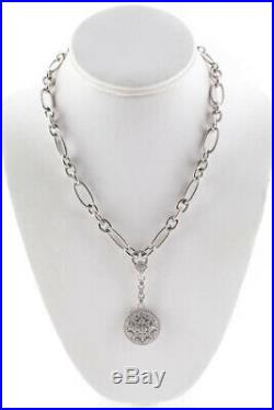 Judith Ripka Womens Necklace Sterling Silver Cubic Zirconia Floral Pendant