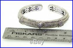 Judith Ripka heavy Sterling silver Cubic Zirconia hinged heart cuff bracelet