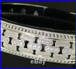 Judith Ripka heavy Sterling silver chunky Cubic Zirconia hinged cuff bracelet