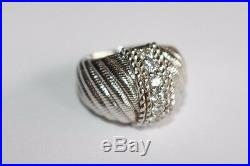Judith Ripka signed Sterling Silver CZ Cubic Zirconia Diamonique Cocktail Ring