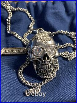 King Baby Sterling Silver Large Skull Necklace With Cubic Zirconia