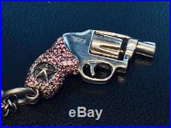 King Baby Sterling Silver Pink Cubic Zirconia QB Revolver Pendant KB Necklace