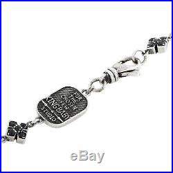 King Baby Sterling Silver and Black Cubic Zirconia MB Cross Necklace