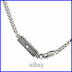 King Baby Sterling Silver and Cubic Zirconia Crowned Heart Pendant Necklace