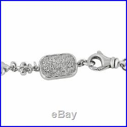 King Baby Sterling Silver and Cubic Zirconia Crowned Heart Rosary Necklace