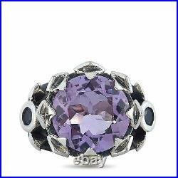 King Baby Sterling Silver and Lavender Cubic Zirconia Crown Ring