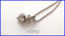 King Queen Baby Crowned Heart Pendant 925 Sterling Silver Cubic Zirconia