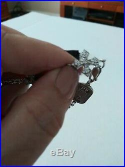 King/Queen Baby Studio 3D Pave Cubic Zirconia MB Cross Bracelet 7.5