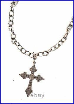 LOREE RODKIN 925 Sterling Cubic Zirconia Gothic Cross Flintstone Chain Necklace