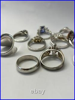 LOT of 10 Vintage Sterling Silver Cubic Zirconia Gemstone Rings ESTATE