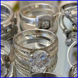 LOT of 13 Vintage Sterling Silver Cubic zirconia rings 44. G ESTATE