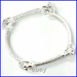 Ladies Spanner Screw Bangle 925 Solid Sterling Silver Cubic Zirconia 24.9g