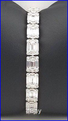Ladies Women Genuine Solid 925 Sterling Silver Baguette CZ Cubic Tennis Bracelet