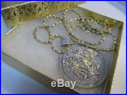 Large Medusa Necklace Gold and 925 Silver 200 Cubics 29 L SAVE! #983