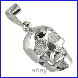 Large Skull Pendant with Cubic Zirconia in Sterling Silver