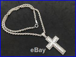 Large Sterling Silver Cubic Zirconia Cross with Long Sterling Silver Chain