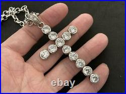 Large Sterling Silver Cubic Zirconia Cross with Sterling Silver Chain