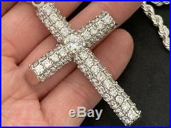 Large Sterling Silver Cubic Zirconia Cross with heavy Sterling Silver Chain