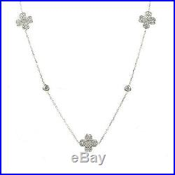 Latelita 925 Sterling Silver Long Lucky Four Leaf Clover Necklace Cubic zirconia