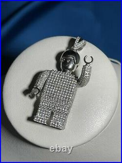 Legoman Style 925 Sterling Silver Pendant Cubic Zirconia Stones Iced Out White