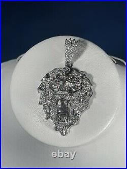 Lion Head Style 925 Sterling Silver Pendant Cubic Zirconia Stones Iced Out White