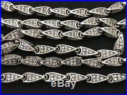 Long Sterling Silver Cubic Zirconia Chain. 94 grams, 36 inch