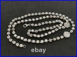 Long Sterling Silver Icejewlz Cubic Zirconia Chain. 38 inch