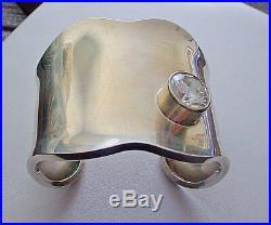 Los Ballesteros Wide Cuff Bracelet Mexican Sterling Silver Cubic Zirconia