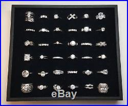 Lot Of 36 Sterling Silver Rings With Clear Stones Or Cubic Zirconia (C)