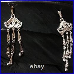 Lovely Estate Sterling Silver Cubic Zirconia Chandelier Wedding Earrings 2 5/16
