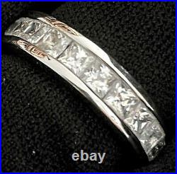 Lovely Estate Sterling Silver Cubic Zirconia Eternity Wedding Band Ring Sz 5.75