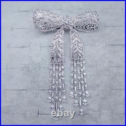 Luxury! Bow Brooch, Tassel Brooch, Vintage Brooch, Cubic Zirconia