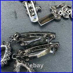 MASSIVE Vintage Sterling silver Cubic Zircon Bib Necklace Dangle Earrings 82grms
