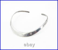 MEXICO 925 Sterling Silver Vintage Cubic Zirconia Collar Necklace NE1496