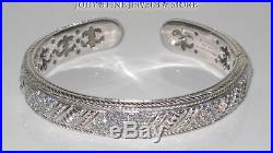 Magnificent Estate Sterling Silver Judith Ripka Cubic Zirconia Cuff Bracelet