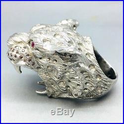 Massive 925 Sterling Silver Jaguar Cubic Zircon Dress Ring Size Q 059