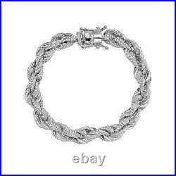Men's 925 Sterling Silver Rope CZ Cubic Zirconia Bling Iced Bracelet