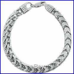 Men's Micro Pave Bling Franco Cubic Zirconia. 925 Sterling Silver Bracelet 8.5