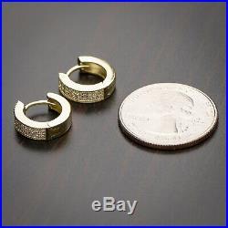 Men's Small Iced 14k Gold Sterling Silver 2 Row Cubic Zirconia CZ Hoop Earrings